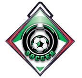 "Excel 3"" Red Diamond Medal Epic Soccer Mylar"