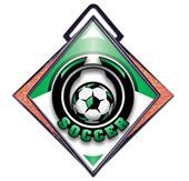 """Excel 3"""" Orange Diamond Medal Epic Soccer Mylar"""