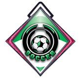"""Excel 3"""" Pink Diamond Medal Epic Soccer Mylar"""
