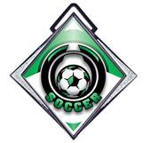 """Excel 3"""" White Diamond Medal Epic Soccer Mylar"""