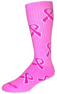 Breast Cancer Awareness Pink Crew Ribbon Socks