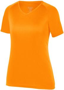 Womens Girls GOLD Wicking V-Neck Shirt CO. Printing is available for this item.