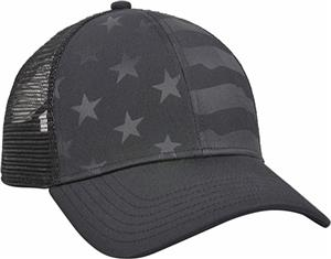 OC Sports Debossed American Flag Mesh Back Cap. Embroidery is available on this item.