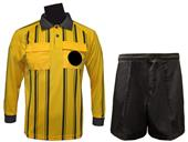 Soccer Referee Long Sleeve Gold Jersey Short Kit