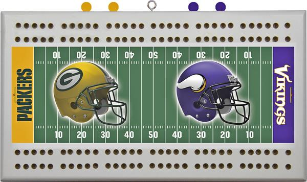 Packer VS Viking Cribbage Board Made From Solid Oak