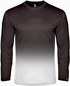 Badger Adult Youth Long Sleeve Ombre Tees. Printing is available for this item.