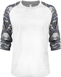 Badger Mens Vintage Camo Baseball Tee. Decorated in seven days or less.