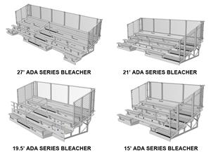 NRS ADA Series 5,8,10 Row Aluminum Bleachers Chainlink Guardrail. Free shipping.  Some exclusions apply.