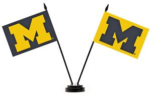 Collegiate Michigan Wolverines 2 Flag Desk Set