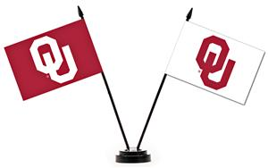 Collegiate Oklahoma Sooners 2 Flag Desk Set