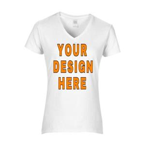 Custom Designed Ladies V-Neck T-Shirts. Free shipping.  Some exclusions apply.