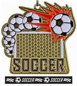 "Epic 2.5"" Sport Burst Gold Soccer Medal & Ribbon"
