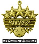 "Epic 2 3/8"" Arched Stars Soccer Medal & Ribbon"