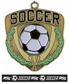 "Epic 2.5"" Sport Shield Gold Soccer Medal & Ribbon"