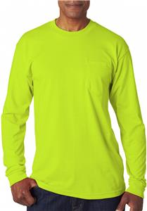 Bayside Adult Long-Sleeve T-Shirt W/Pocket. Decorated in seven days or less.