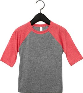 Bella+Canvas Toddler 3/4 Sleeve Baseball Tee 3200T. Decorated in seven days or less.