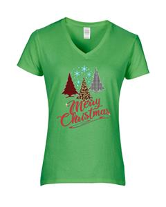 Epic Ladies Merry Christmas V-Neck T-Shirts. Free shipping.  Some exclusions apply.