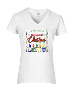 Epic Ladies Christmas Lights V-Neck T-Shirts. Free shipping.  Some exclusions apply.