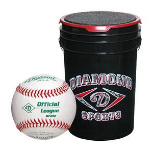 Diamond 6-Gallon Ball Bucket with 30 DOB Baseballs Black