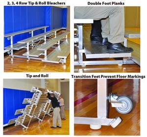 Tip & Roll 2,3,4 Row Aluminum Preferred Bleachers