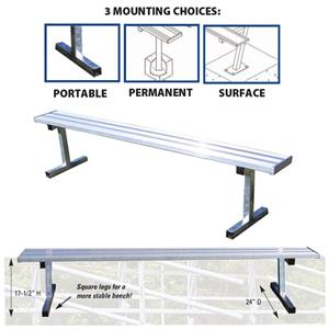 Players Aluminum Bench Without Backrests 3 Sizes