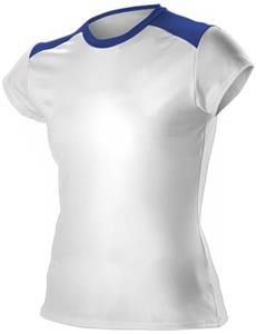 Women Girls 5.5oz Poly Fitted Cap Sleeve Shirts CO. Printing is available for this item.