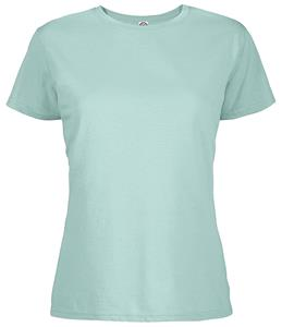 Womens Berry Heather 4.3 oz Soft Spun Pre-Shrunk Cotton Tee Shirt. Printing is available for this item.