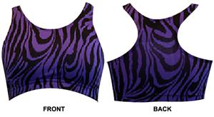 Gem Gear Purple Zebra Racer Back Sports Bra