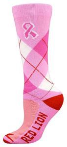 Red Lion Cancer Pink Ribbon Argyle Socks