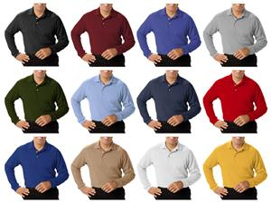 Blue Generation Men's LS Pique Polo Shirts