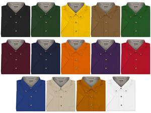 Baw Men's Short Sleeve Easy Care Twill Woven Shirt