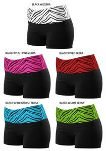 Pizzazz Roll Down Zebra Waist Shorts