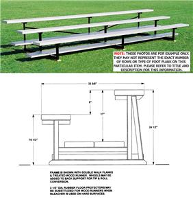 Bleachers, 2 ROW Non-Elev Low Rise No Aisles