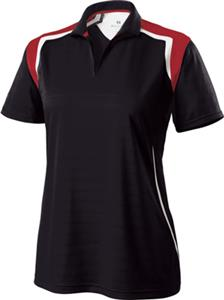 Ladies Wicking Textured Stripe Polo CO. Embroidery is available on this item.