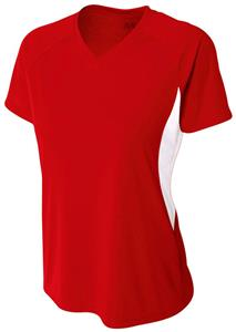 A4 Womens Color Blocked Performance V-Neck Shirt. Printing is available for this item.