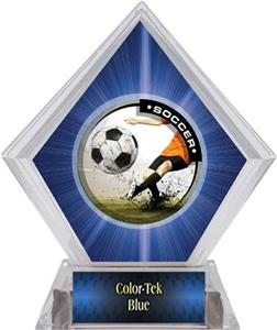 Awards P R  Male Custom Soccer Blue Diamond Ice Trophy