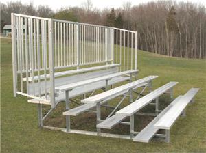 Jaypro 5 Row 27' Bleachers W/Guard Rail Enclosure