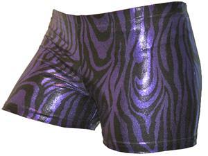 Gem Gear Compression Purple Metallic Zebra Shorts