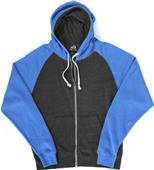 J America TriBlend Colorblock Full Zip Fleece Hood