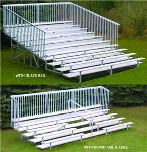 Aluminum Bleachers 10 Row Bleacher with Guard Rail