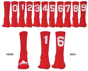 "Red Lion ""Solid Numbers"" Red Crew Socks"