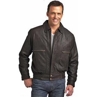 Burk's Bay Adult Brushed Leather Bomber Jacket
