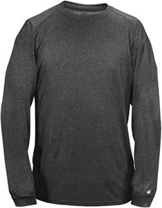Badger Sport Pro Heather Long Sleeve Tee Shirt. Printing is available for this item.