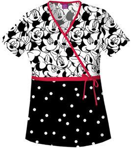 Tooniforms Women's Big Minnie Mock Wrap Scrub Top