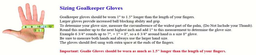 Soccer Glove Sizing