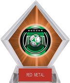 "2"" Legacy Soccer Orange Diamond Ice Trophy"
