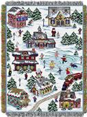Northwest Snowy Village Woven Tapestry Throw