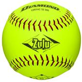 """Diamond Zulu Red Stitch 12"""" Slowpitch Softball"""