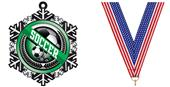 "Hasty 3"" Snowflake Medal 2"" Wreath Mylar Soccer"
