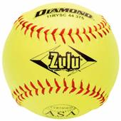 """Diamond Zulu Red Stitch 11"""" ASA Softballs"""